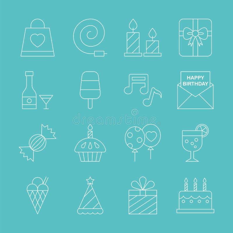 Het pictogramreeks van de verjaardagslijn stock illustratie