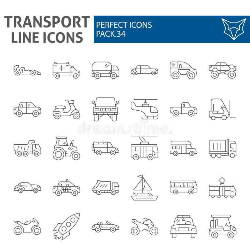 Het pictogramreeks van de vervoer dunne lijn, de inzameling van voertuigsymbolen, vectorschetsen, embleemillustraties, lineaire v vector illustratie