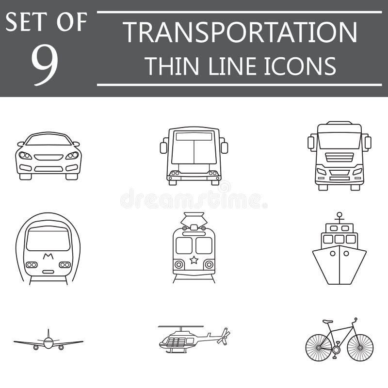 Het pictogramreeks van de vervoerlijn, openbaar vervoer vector illustratie