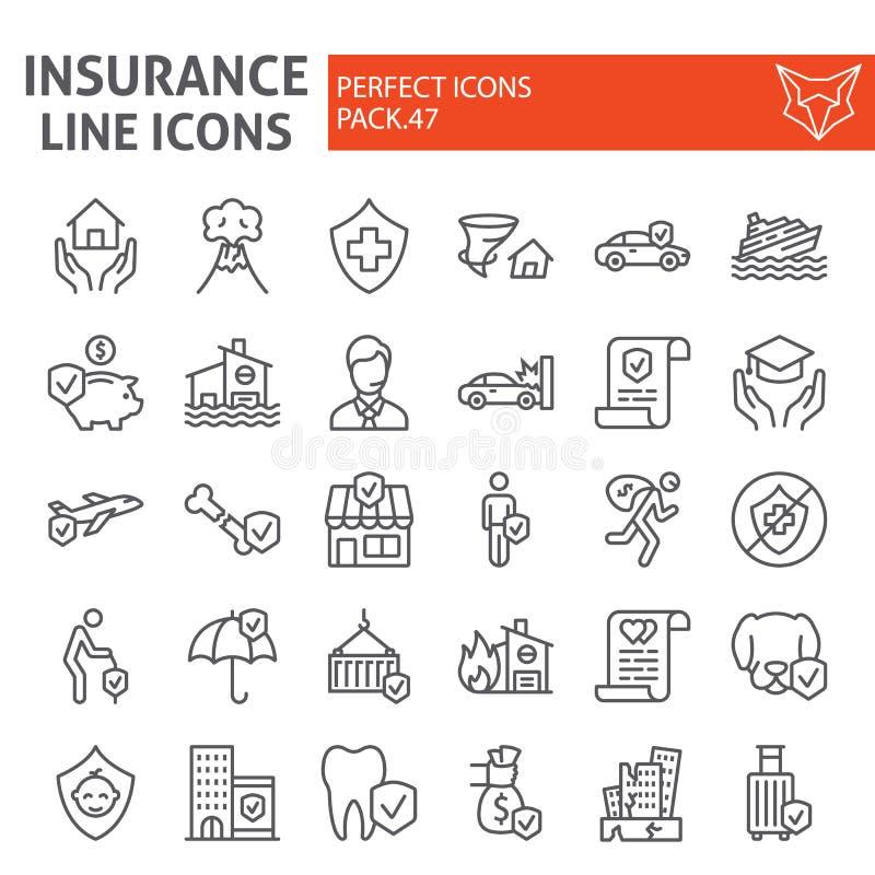 Het pictogramreeks van de verzekeringslijn, de inzameling van gezondheidszorgsymbolen, vectorschetsen, embleemillustraties, het l vector illustratie