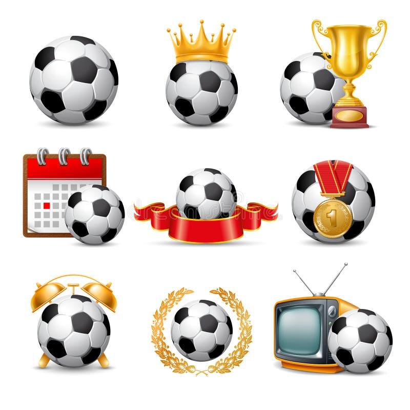 Het pictogramreeks van de voetbalbal stock illustratie