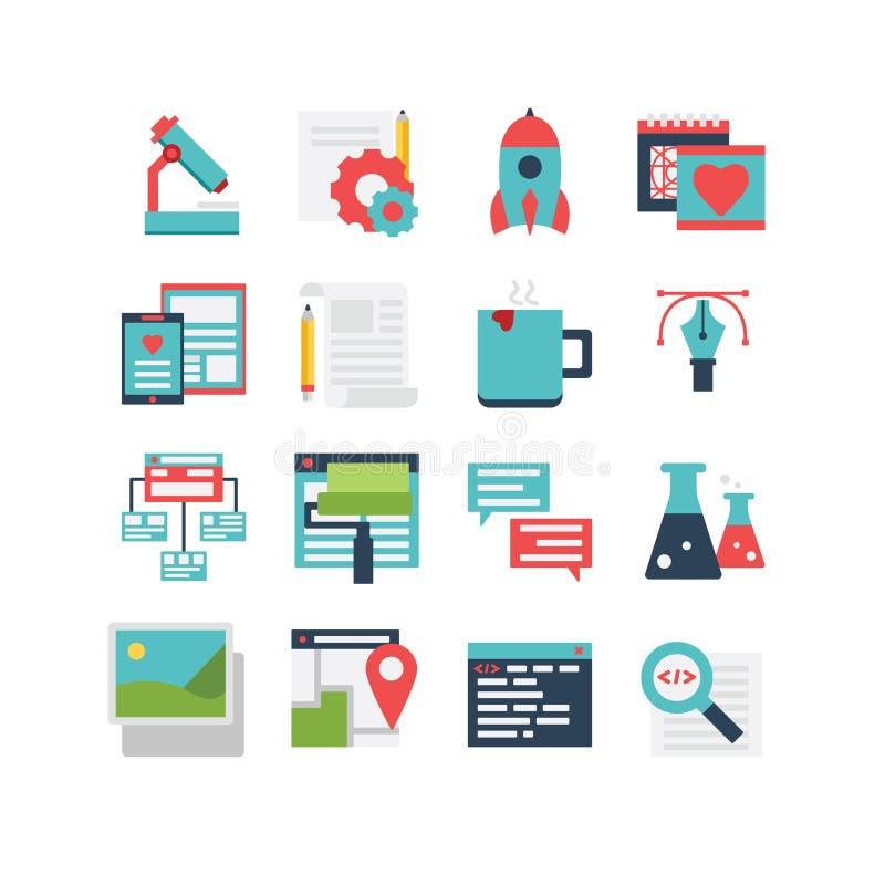 Het Pictogramreeks van de Webontwikkeling stock illustratie