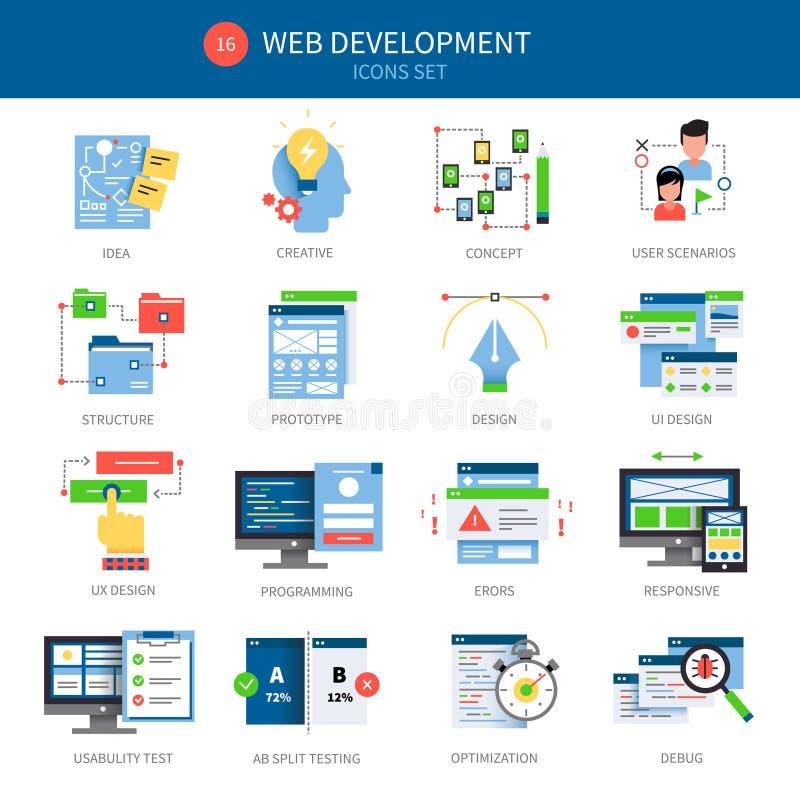 Het Pictogramreeks van de Webontwikkeling vector illustratie