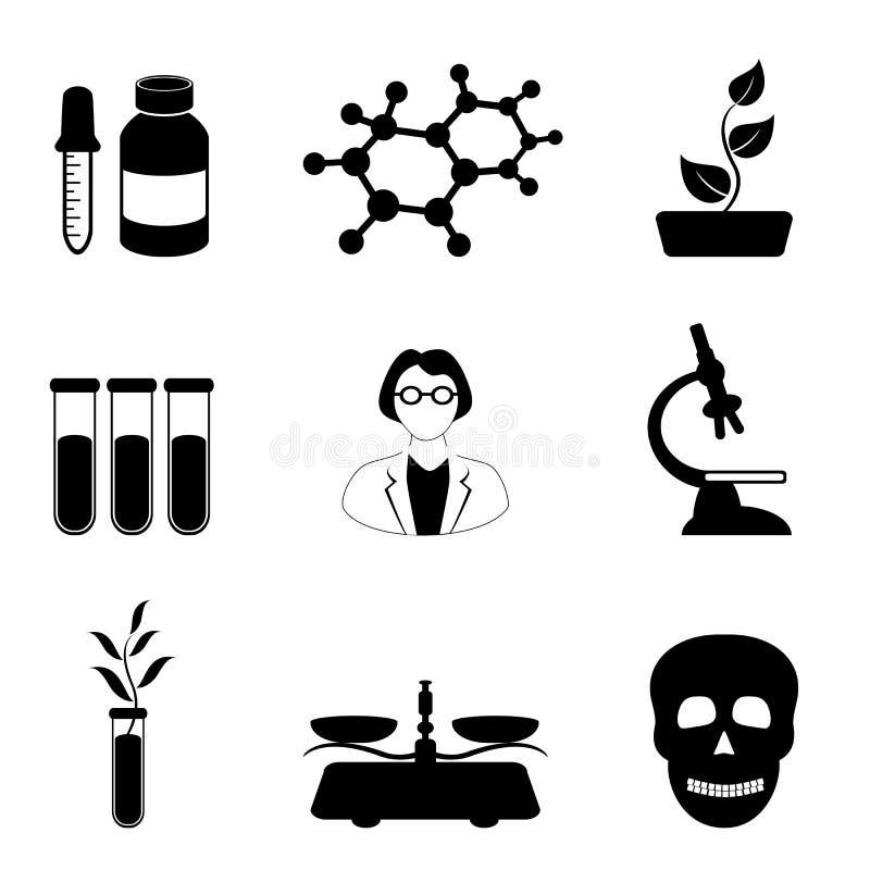 Het pictogramreeks van de wetenschap, van de biologie en van de chemie vector illustratie