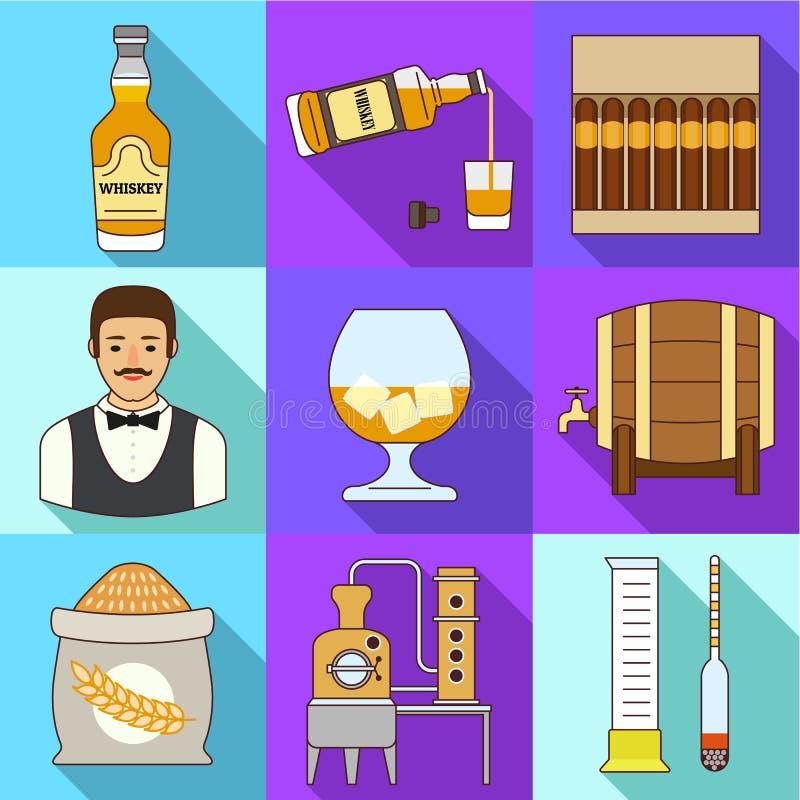 Het pictogramreeks van de whiskydrank, vlakke stijl royalty-vrije illustratie