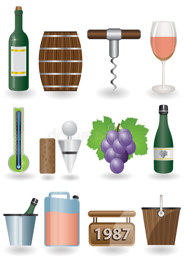 Het pictogramreeks van de wijn royalty-vrije illustratie
