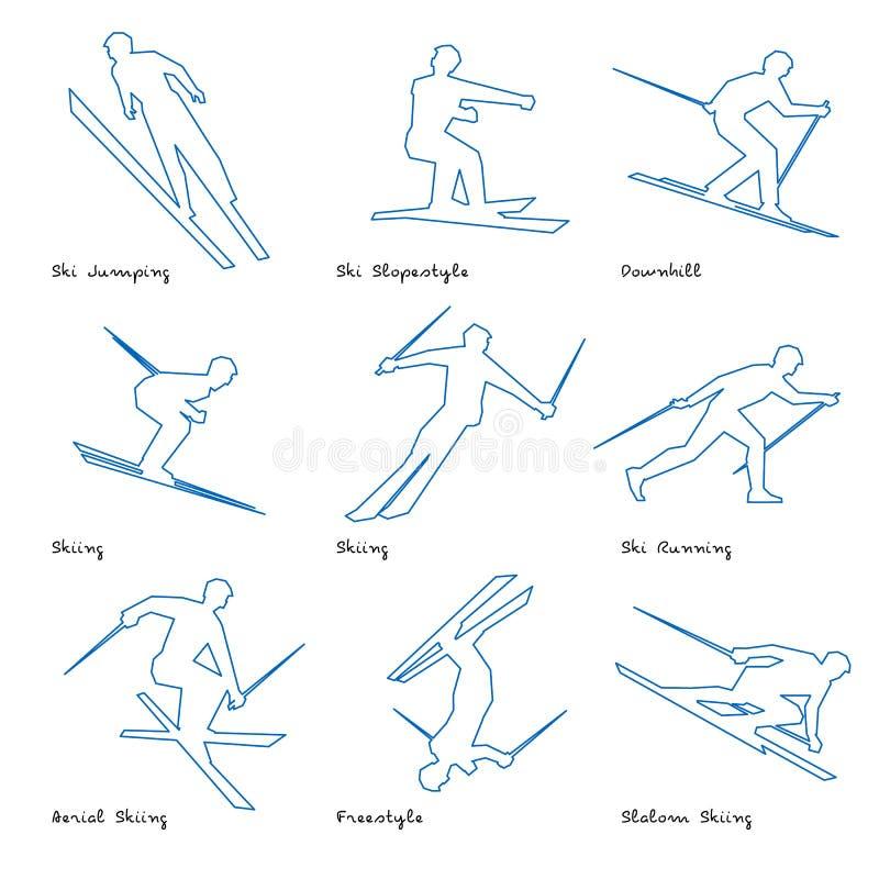 Het pictogramreeks 3 van de wintersportenlijn royalty-vrije illustratie