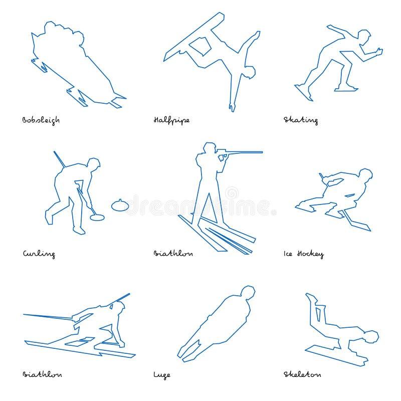 Het pictogramreeks 1 van de wintersportenlijn stock illustratie