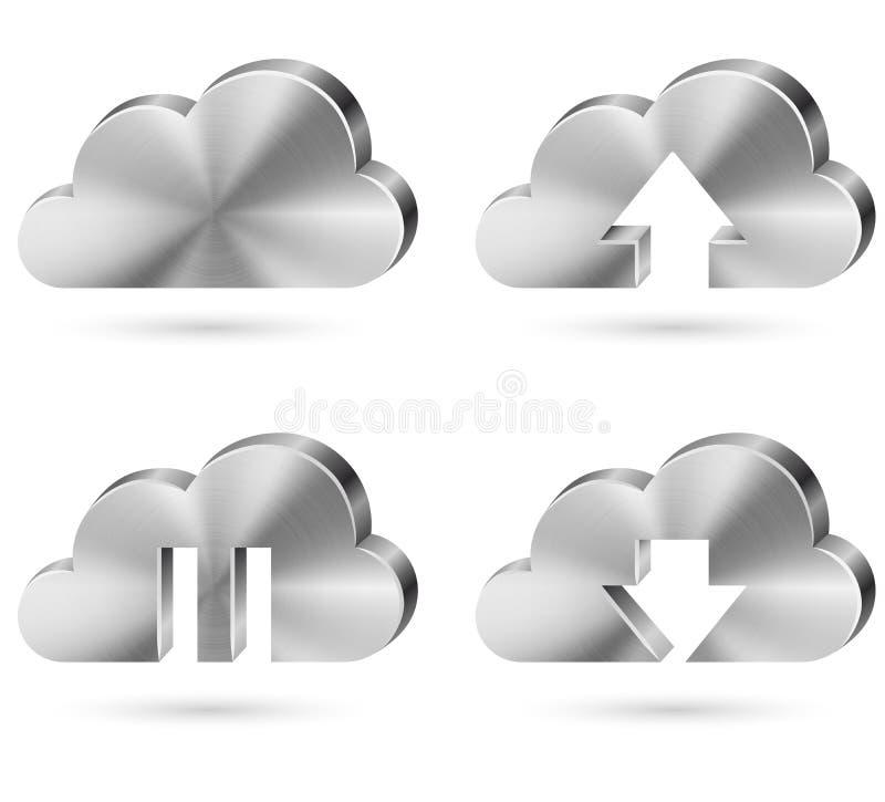 Het pictogramreeks van de wolkenopslag. royalty-vrije illustratie