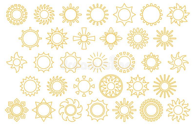 Het pictogramreeks van de zon royalty-vrije stock afbeelding