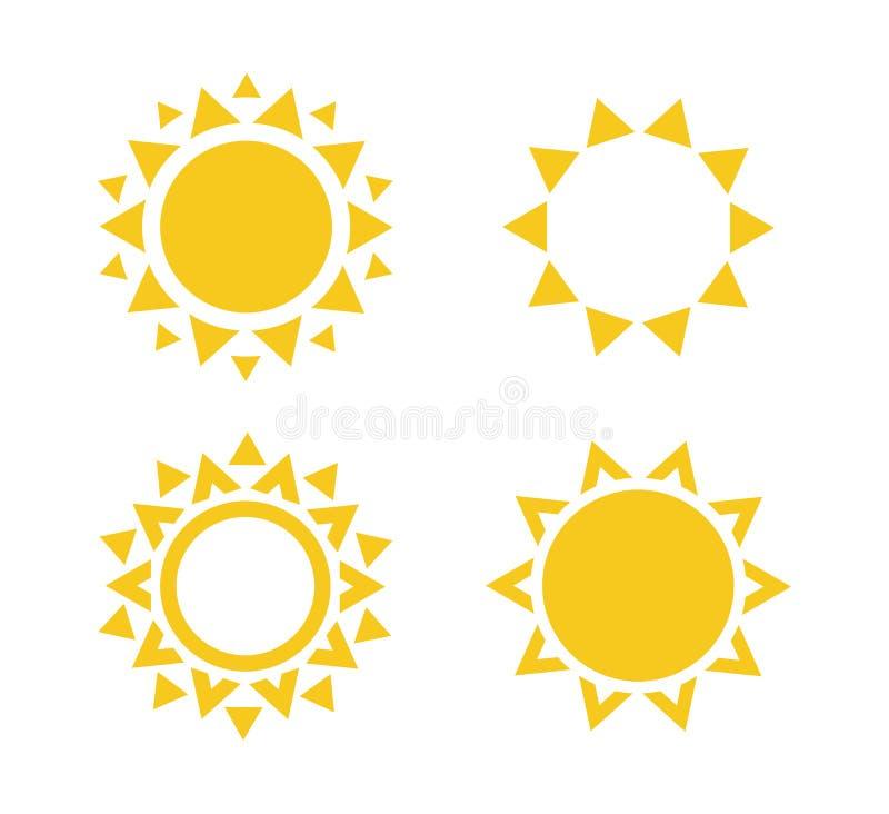 Het pictogramreeks van de zon De zomerrust teken Het malplaatje van het reisbureauembleem Zonnig cirkelconceptontwerp Ge?soleerde vector illustratie