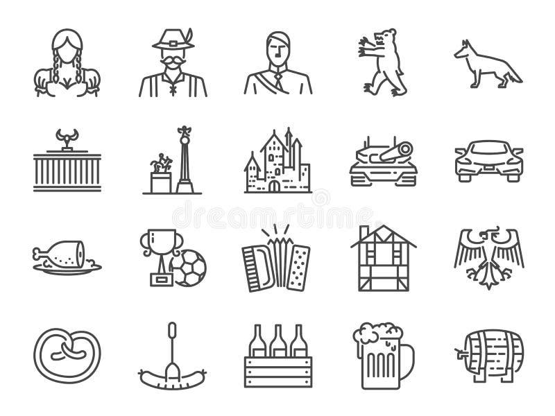 Het pictogramreeks van Duitsland Omvatte de pictogrammen als oriëntatiepunten, bier, reis, voedsel, kostuum, Duitse herder, kaste royalty-vrije illustratie