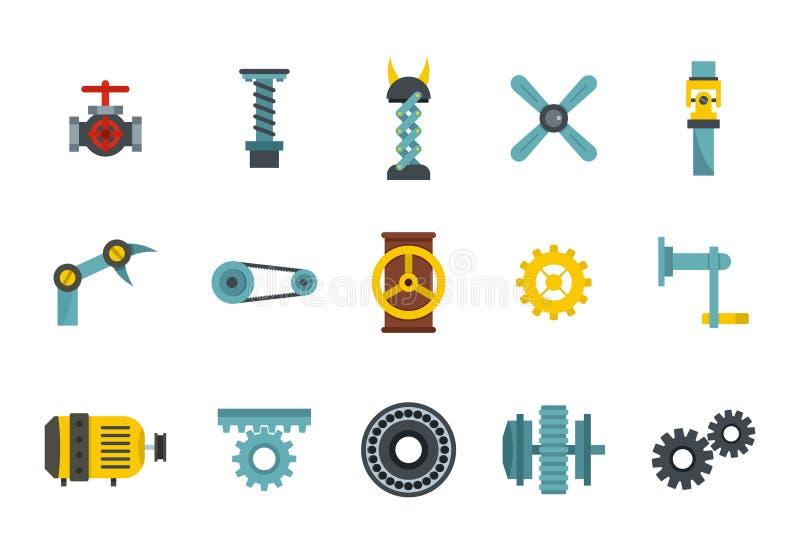 Het pictogramreeks van fabriekshulpmiddelen, vlakke stijl vector illustratie