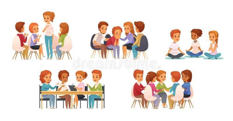 Het Pictogramreeks van het groepstherapiebeeldverhaal stock illustratie