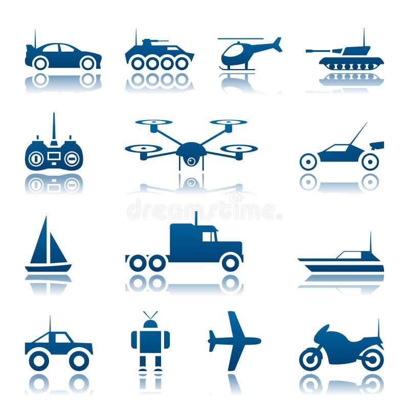 Het pictogramreeks van het afstandsbedieningspeelgoed stock illustratie