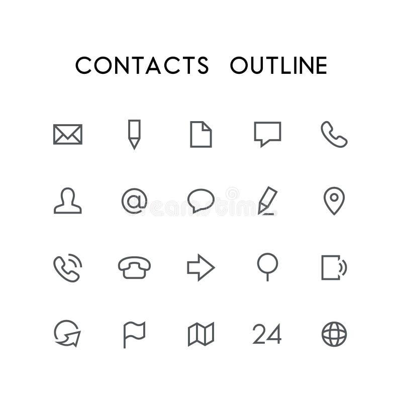Het pictogramreeks van het contactenoverzicht royalty-vrije illustratie