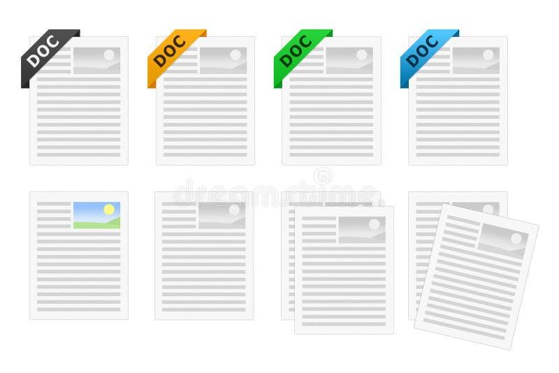 Het pictogramreeks van het doc.- Document vector illustratie