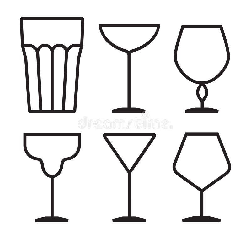 Het pictogramreeks van het drankglas vector illustratie