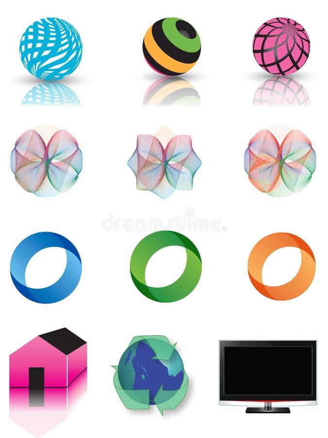Het pictogramreeks van het embleem vector illustratie