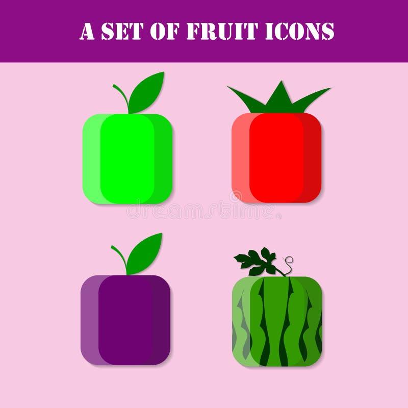 Het pictogramreeks van het fruit royalty-vrije illustratie
