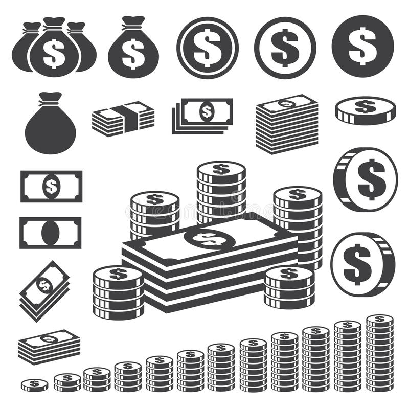 Het pictogramreeks van het geld en van het muntstuk. vector illustratie
