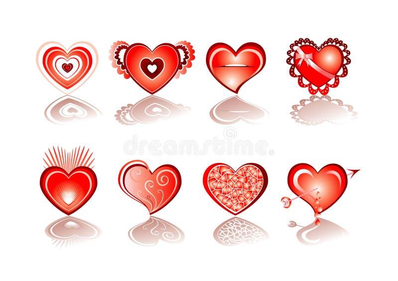 Het pictogramreeks van het hart royalty-vrije illustratie