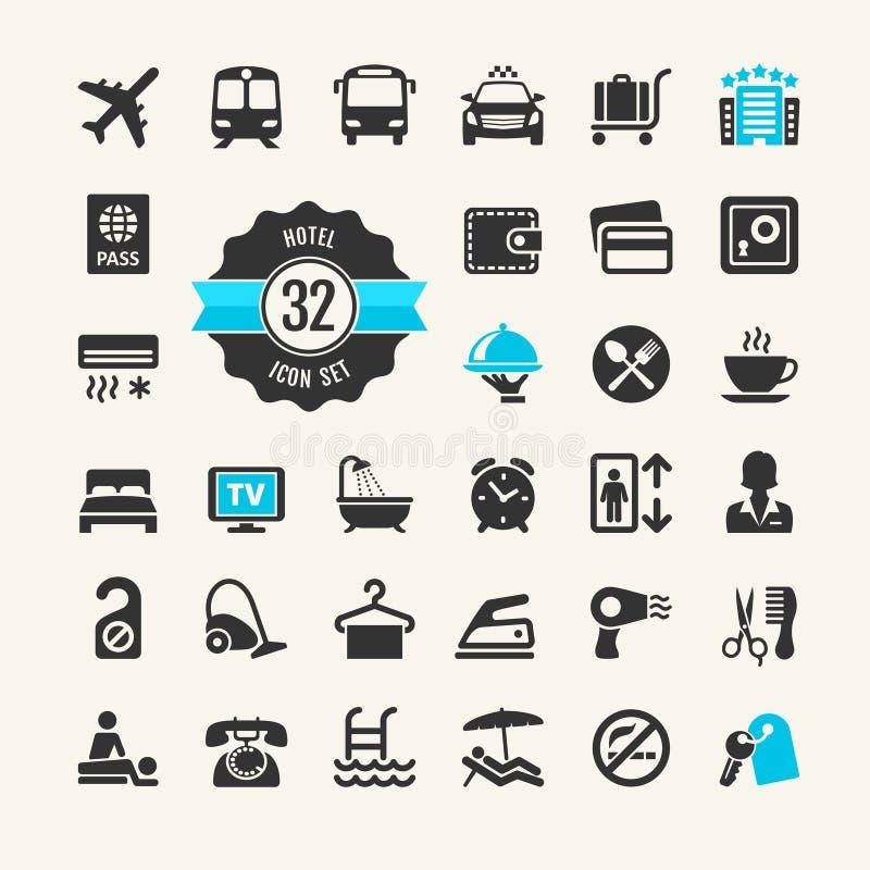Het pictogramreeks van het hotelweb vector illustratie