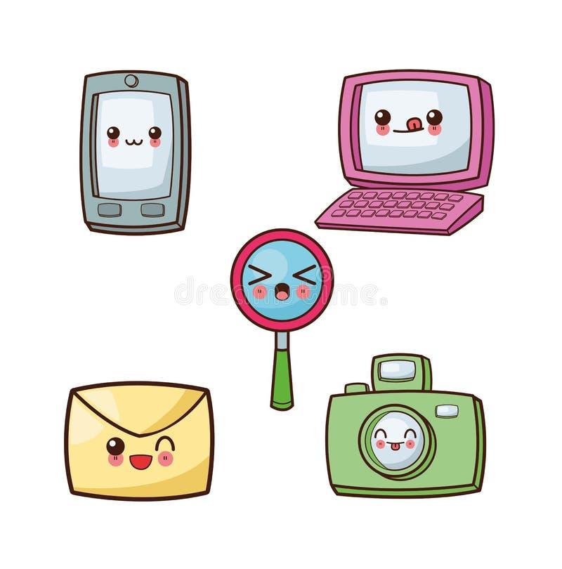 Het pictogramreeks van het Kawaiibeeldverhaal Technologie en sociale media Vectorgra vector illustratie