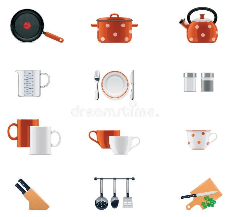 Het pictogramreeks van het keukengerei royalty-vrije illustratie