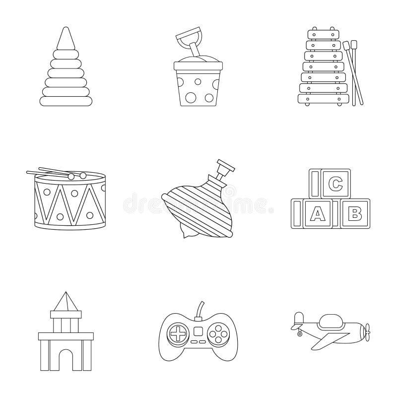 Het pictogramreeks van het kinderenspeelgoed, overzichtsstijl vector illustratie