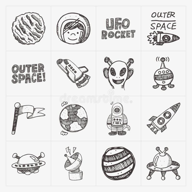 Het pictogramreeks van het krabbel ruimteelement royalty-vrije illustratie