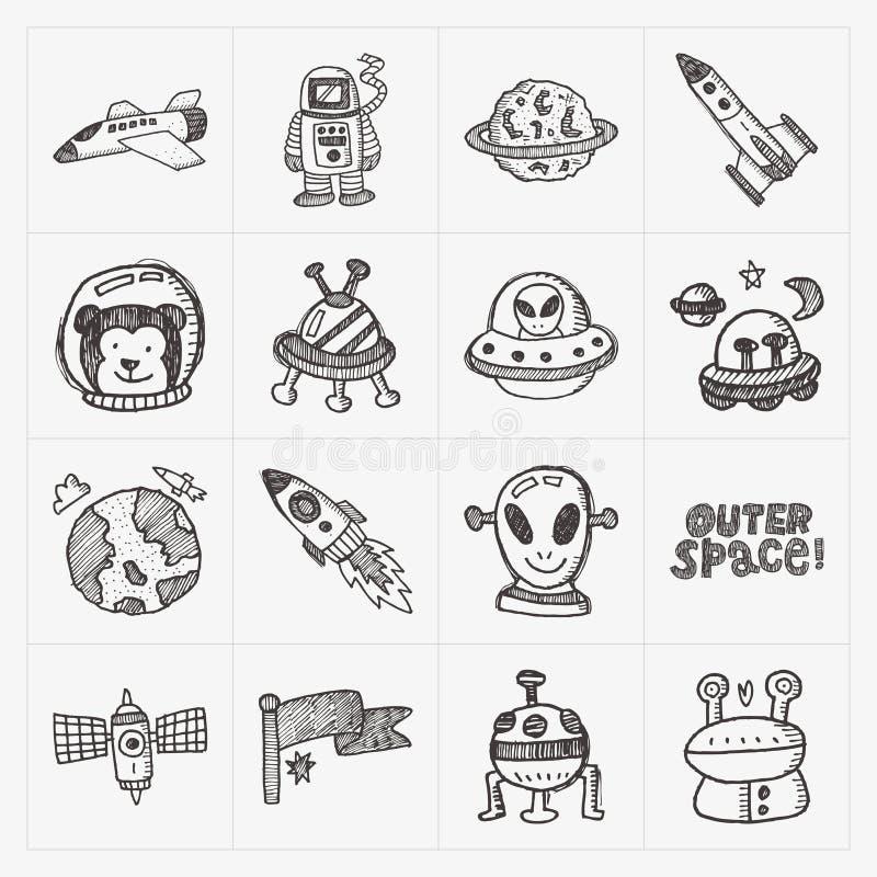 Het pictogramreeks van het krabbel ruimteelement stock illustratie