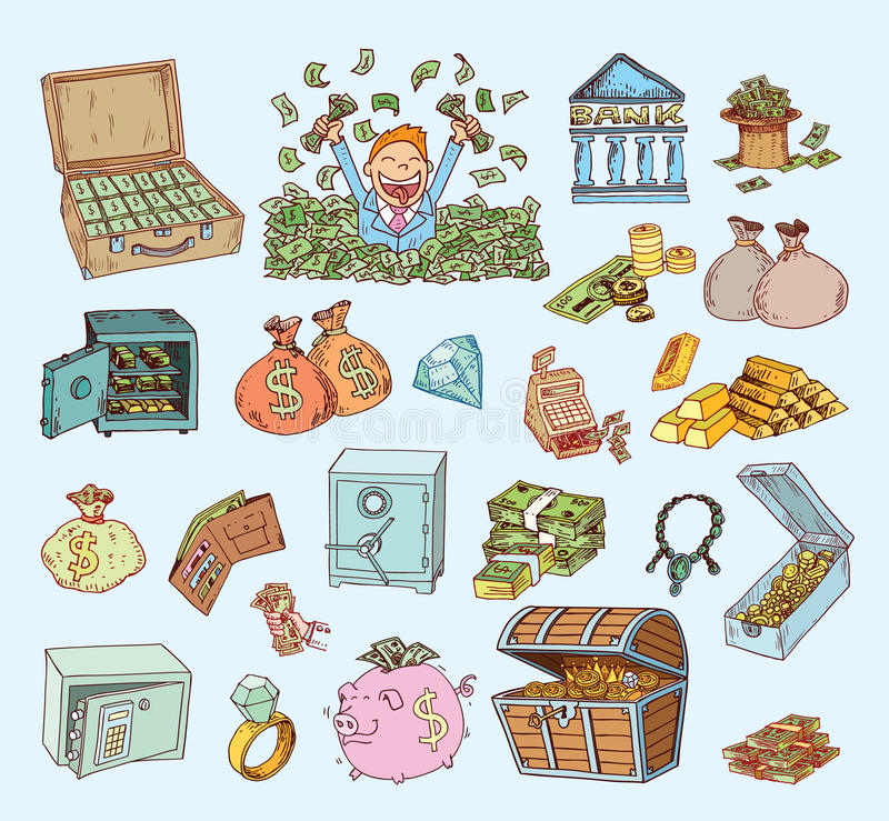 Het pictogramreeks van het krabbelgeld, hand getrokken illustratie stock illustratie