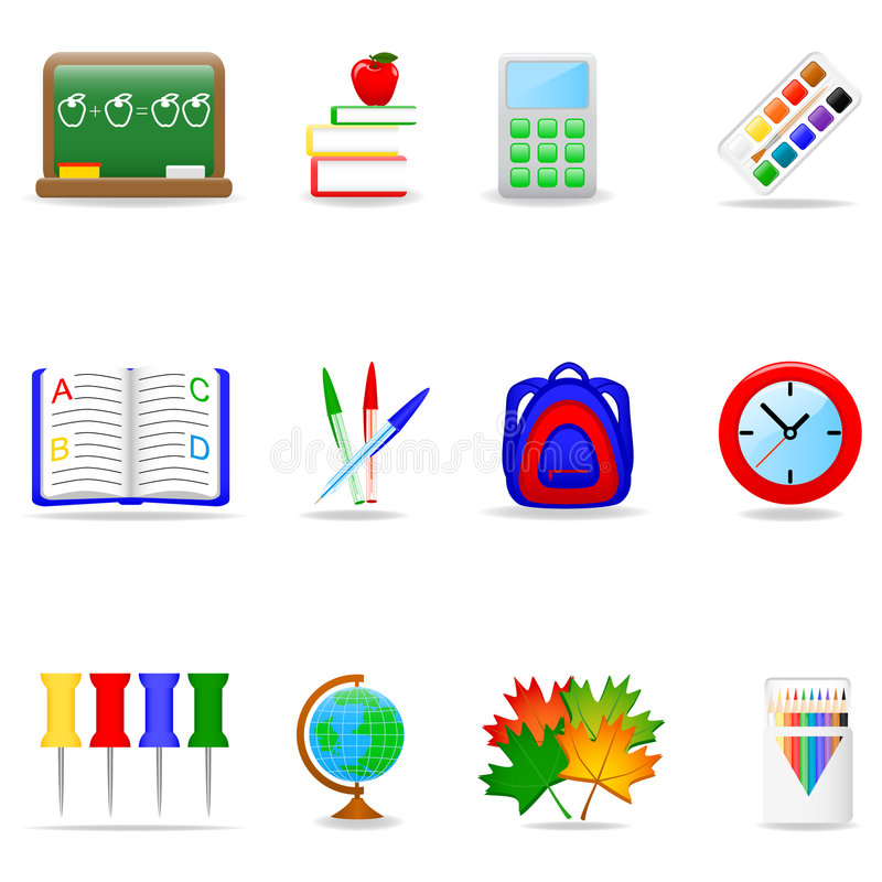 Het pictogramreeks van het onderwijs stock illustratie
