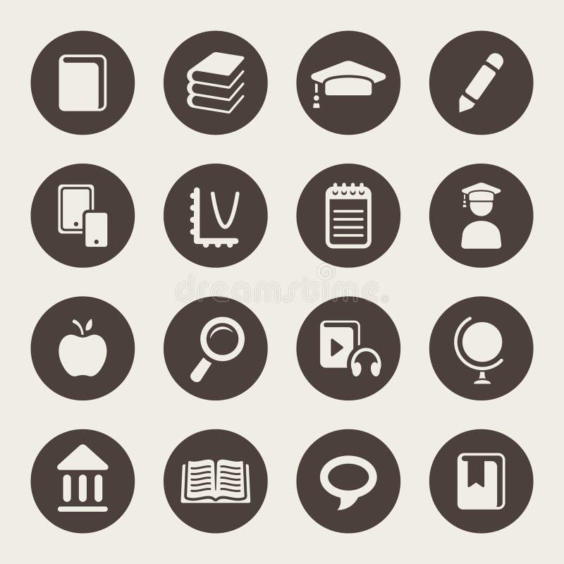 Het pictogramreeks van het onderwijsthema vector illustratie