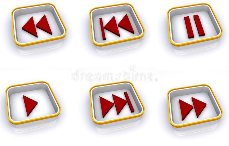 Het pictogramreeks van het spel en van de pauze stock illustratie
