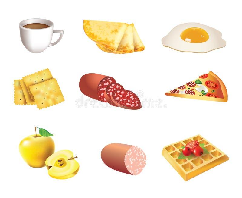 Het pictogramreeks van het voedsel stock illustratie