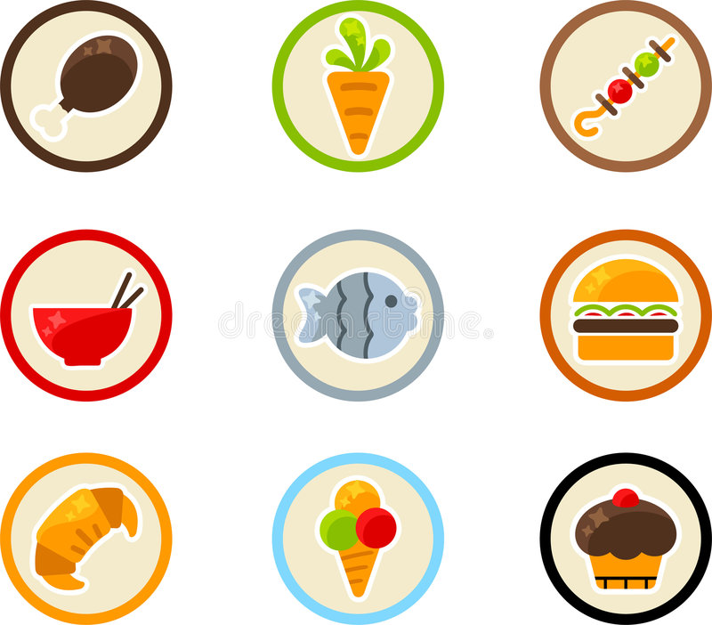 Het pictogramreeks van het voedsel royalty-vrije illustratie