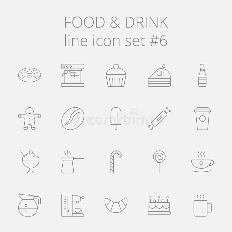Het pictogramreeks van het voedsel en van de drank vector illustratie