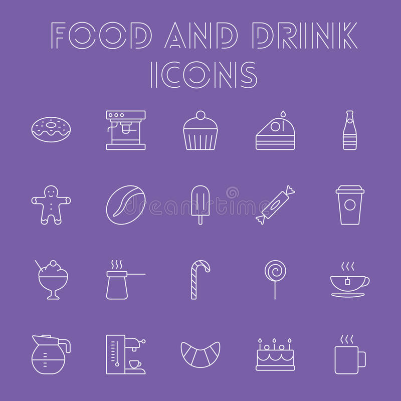 Het pictogramreeks van het voedsel en van de drank stock illustratie