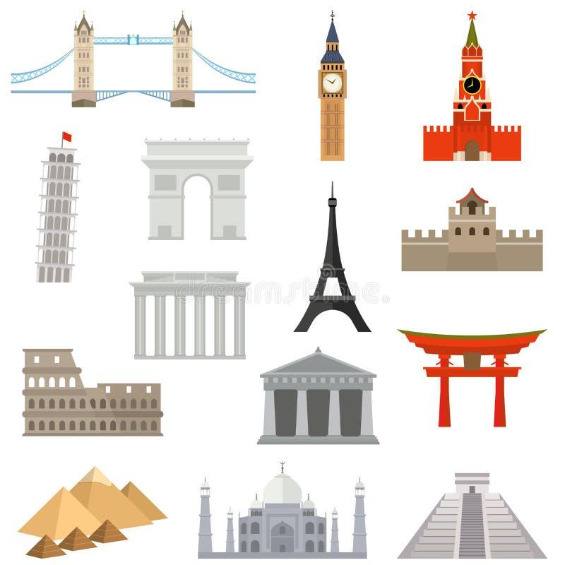 Het Pictogramreeks van het wereldoriëntatiepunt royalty-vrije illustratie
