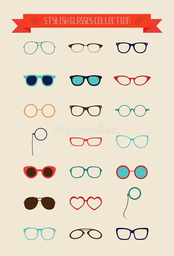 Het Pictogramreeks van Hipster Retro Uitstekende Glazen vector illustratie