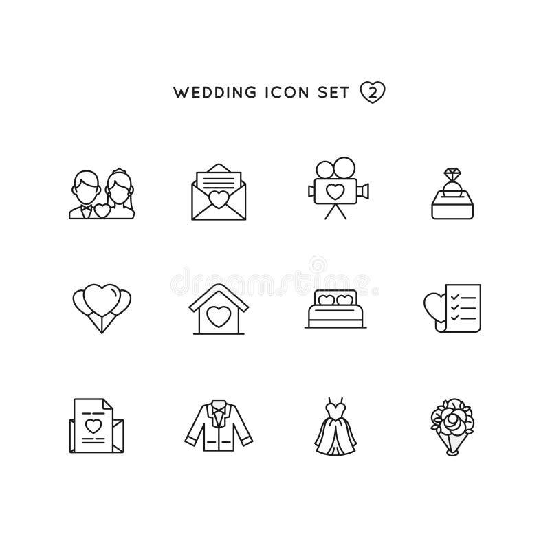 Het pictogramreeks van het huwelijksoverzicht voorwerp van huwelijksillustratie met de inzameling van het liefdesymbool vector illustratie