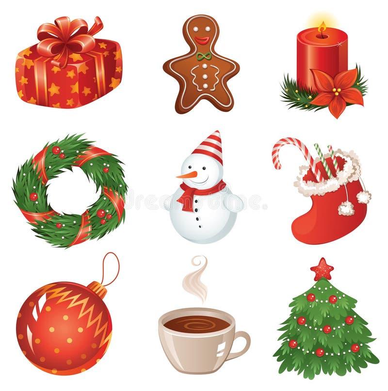 Het pictogramreeks van Kerstmis stock illustratie