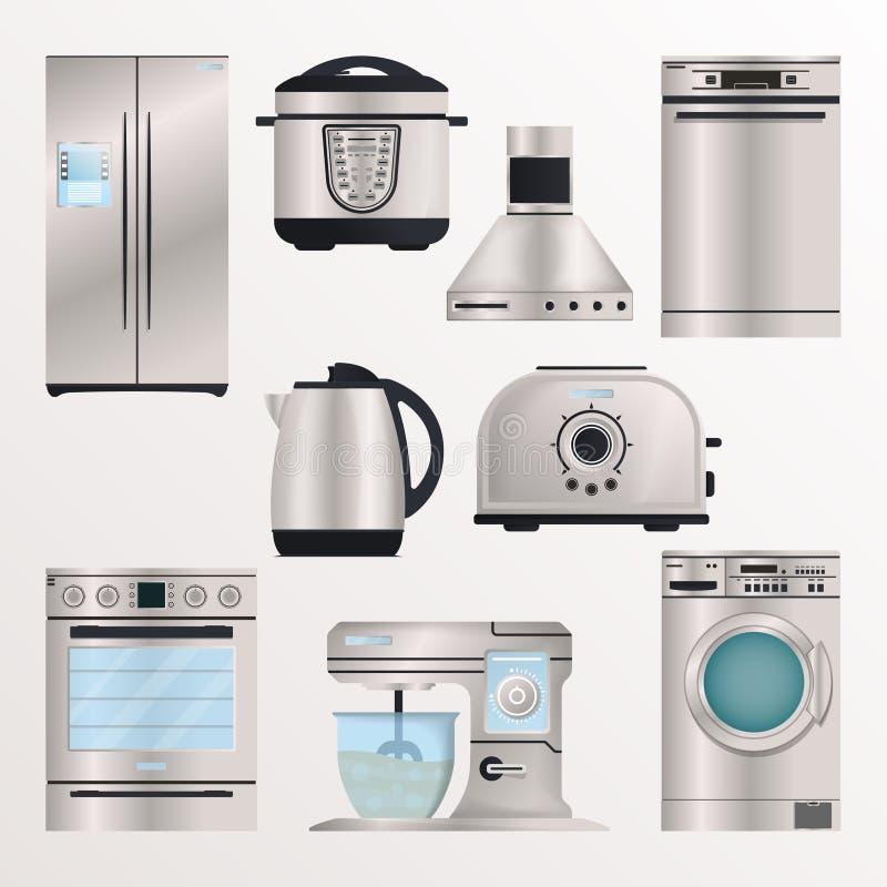 Het pictogramreeks van keuken elektronische toestellen vector illustratie
