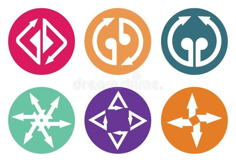 Het pictogramreeks van kleurenpijlen stock illustratie