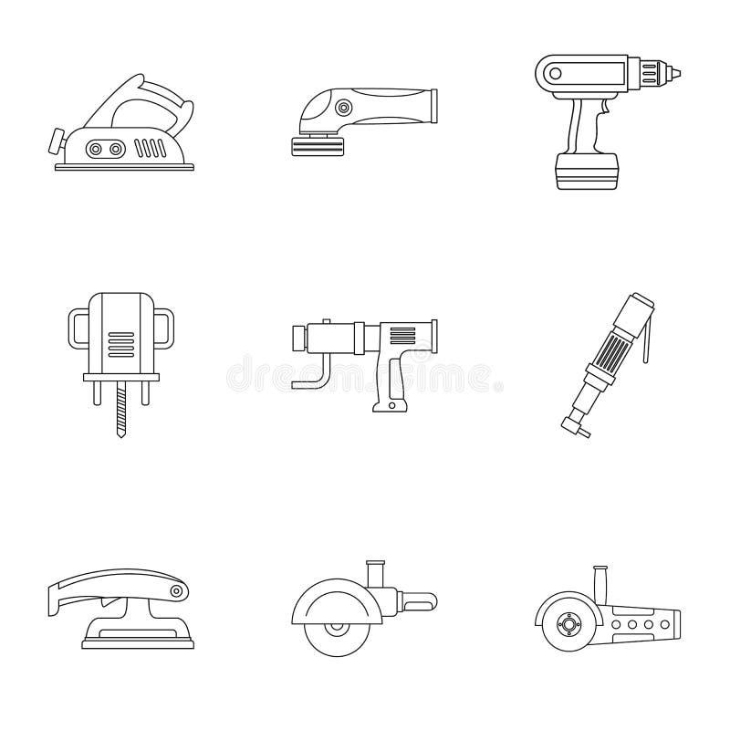 Het pictogramreeks van het machtshulpmiddel, overzichtsstijl stock illustratie