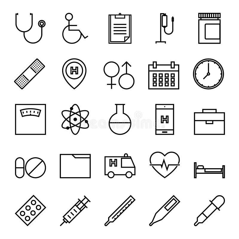 Het pictogramreeks van het medische en gezondheidsoverzicht vector illustratie