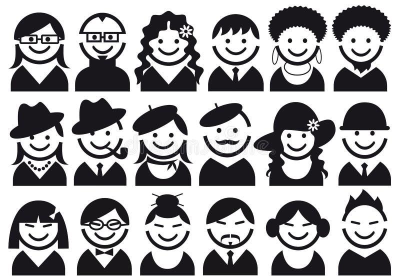 Het pictogramreeks van mensen stock illustratie