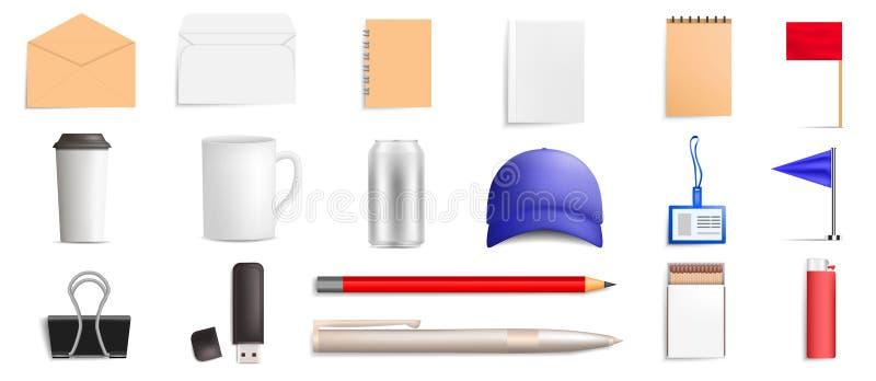 Het pictogramreeks van het merkmodel, realistische stijl vector illustratie